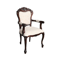 Solid Mahogany Wood Antique Reproduction Style French Cabriole Carver Dining Arm Chair