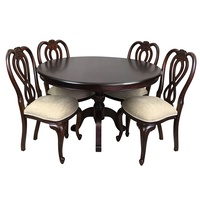 Solid Mahogany Wood 125 cm Pedestal Leg Round Dining Table with Chairs