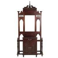 Solid Mahogany Wood Large Hall Stand with Cupboard & Drawer
