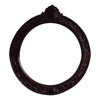 Solid Mahogany Wood Bevelled Glass Round Mirror