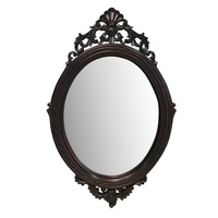 Solid Mahogany Wood Hand Carved Bevelled Oval Wall Mirror 95x45cm