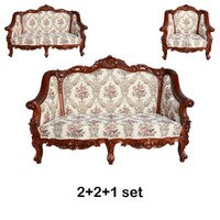 Solid Mahogany Classic Large Carved Lounge Set Reproduction