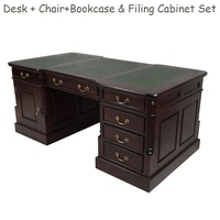 Solid Mahogany Wood Office Executive Partners Desk Office Package Deal