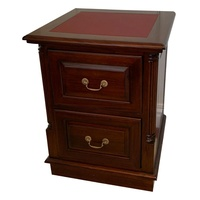 Solid Mahogany Wood 2 Drawers Filing Cabinet with Leather Insert
