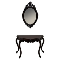 Solid Mahogany Wood Serpentine Hall Table & Mirror
