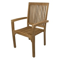 Outdoor Furniture Solid Teak Wood Stackable Garden Arm Chair