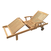 Outdoor Furniture Solid Teak Wood 3 Fold Sun Lounger