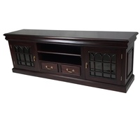 Solid Mahogany Wood 2 Door TV Cabinet With Drawers