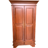 Solid Mahogany Wood 2 Door & 2 Drawers Wardrobe