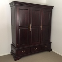 Solid Mahogany Wood 3 Door & Drawer Wardrobe