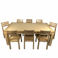 Solid Oak Timber Dining Table With 8 Dining Chairs Set