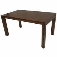 Solid Walnut Wood 1.5m Dining Table with Glass Top