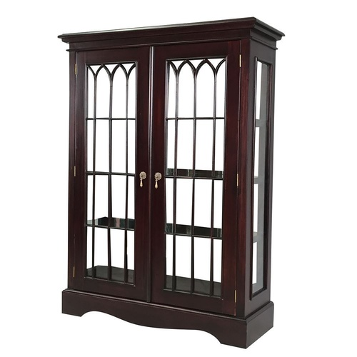 Solid Mahogany Display Cabinet / Vitrine with Glass Doors