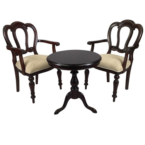 Solid Mahogany Wood Table Set with 2 Arm chairs - Hyper Flute Leg Design