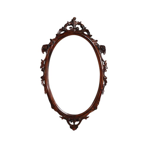 Solid Mahogany Wood Hand Carved Bevelled Oval Wall Mirror